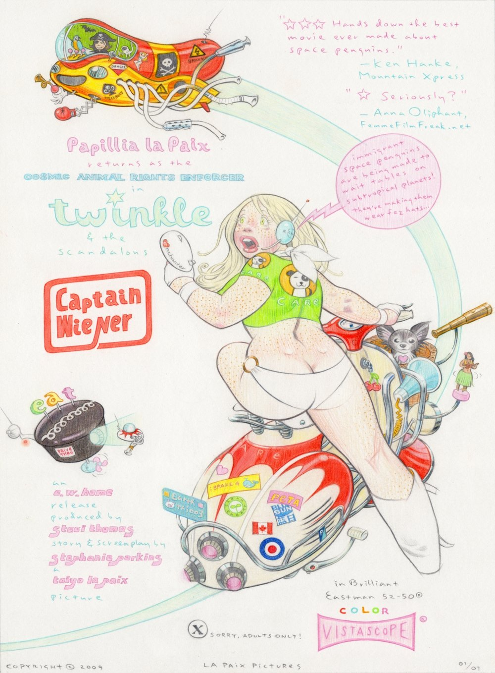 Twinkle and the Scandalous Captain Wiener, 2009, pencil on paper, 12.5 x 9.25 inches, courtesy of Stephanie Perkins