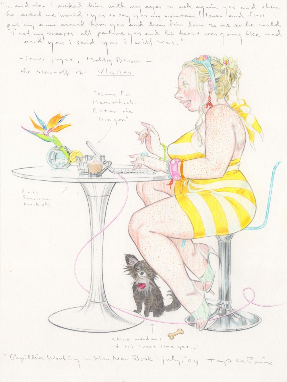 Papillia Working on Her New Book, 2009, pencil on paper, 12 x 9 inches, courtesy of Kim Alderman