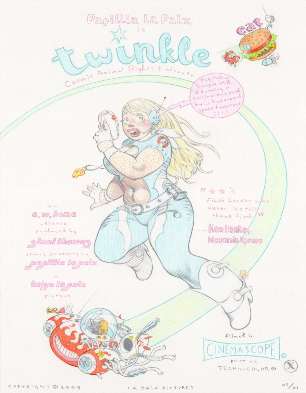 Twinkle, Cosmic Animal Rights Enforcer, 2009, pencil on paper, 11 x 8.5 inches, courtesy of Darwin and Kathleen Stanley
