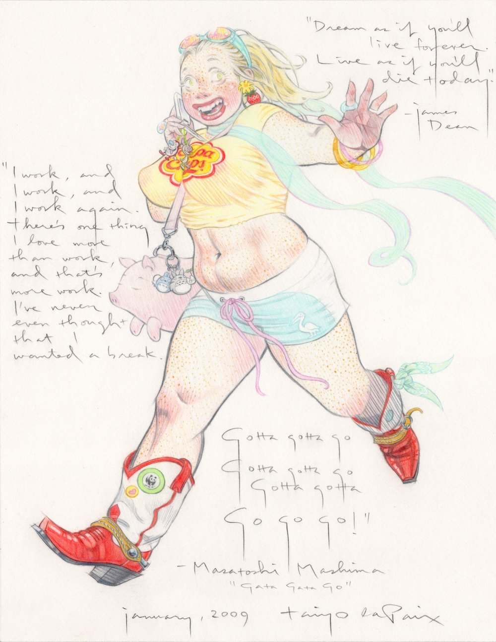 Gotta Gotta Go, 2009, pencil on paper, 8.5 x 11 inches, courtesy of Janis Ian and Patricia Snyder