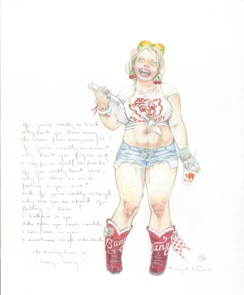 Bang-bang!, 2007, pencil on paper, 13 x 10 inches, courtesy of Betty Clark http://www.bettyclarkpainter.com/