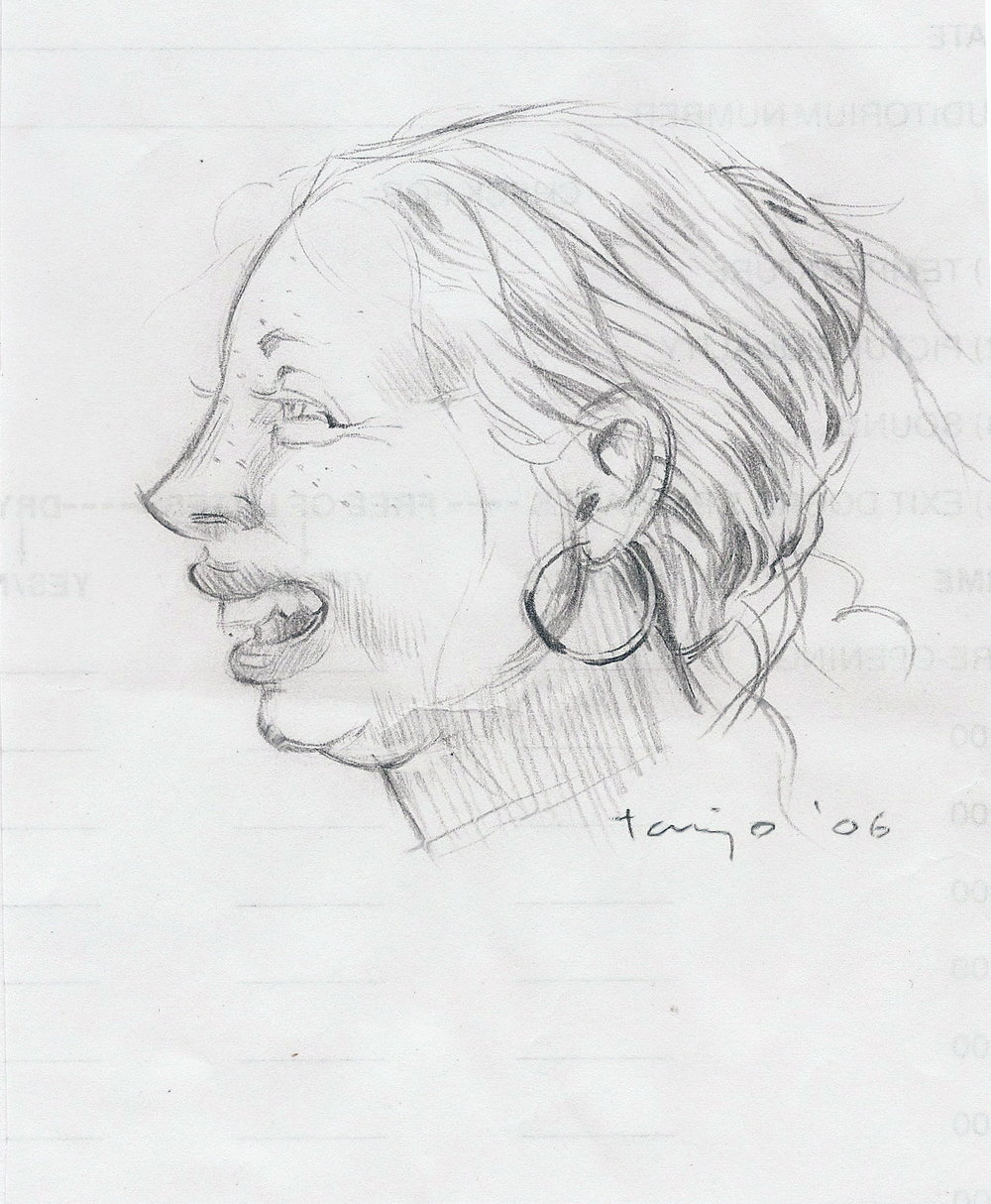 Papillia at the Carmike Ten, 2006, pencil on back of Carmike Ten's Theater Checklist, 4 x 5 inches