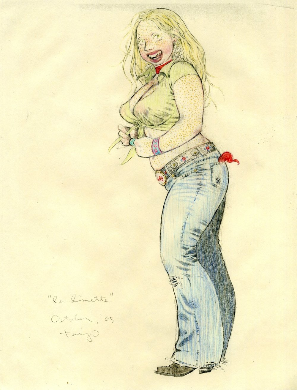 Limette, la, 2005, colored pencil on photocopy of pencil on paper, 10 x 7 inches, courtesy of Ray Griffin and Thom Robinson