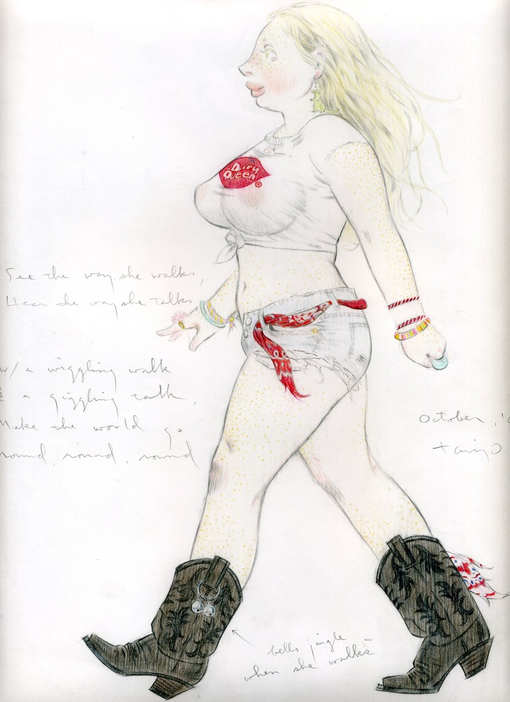 See the Way She Walks, 2005, pencil on paper, 13 x 9 inches, courtesy of Alli Good http://alligoodart.bigcartel.com