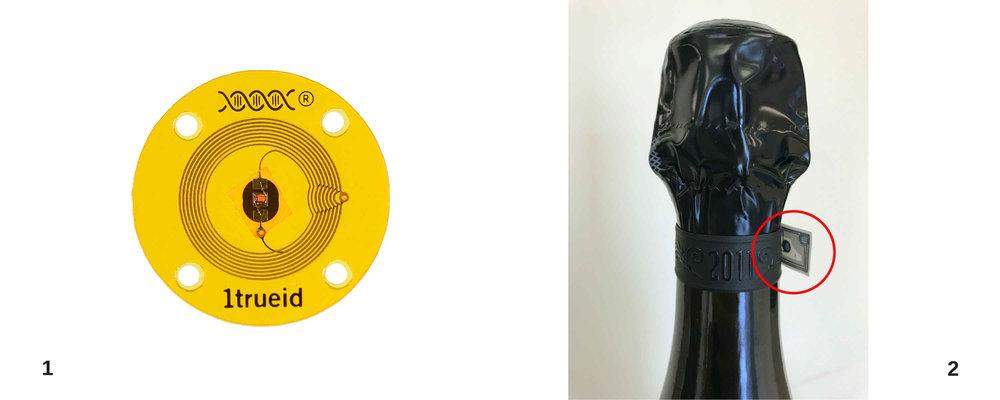 1 - Tag nfc lavabile destinato al settore abbigliamento e fashion    2 - tag nfc applicato ad una bottiglia di spumante