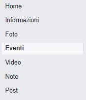 Sezione eventi accessibile dal menù a sinistra della pagina