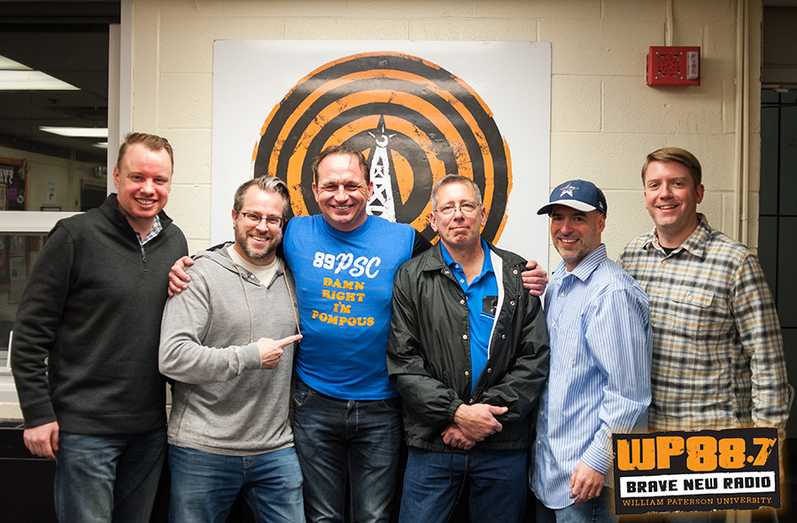 "Some of the members of WPSC-FM from the HitRadio days gathered at the Alumni Takeover Weekend 2017 Pizza Party. From left to right: Mike Gavin, ""The Smooth Sailor"" Justin DiMinni, Matt Locker, Jimmy Donchez, ""Maxie-On-The-Mic"" Max DeFillipis, Mike Bonte ""The Mike Bonte Program"""