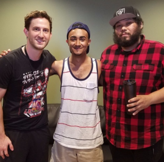 Jon Mess (left) & Will Swan (right) hang with cheesy Joel
