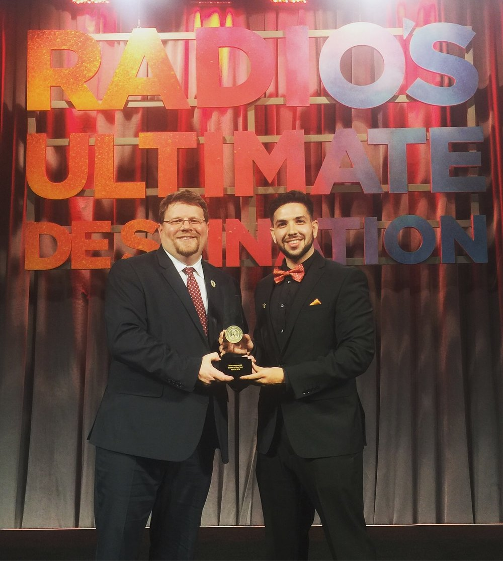 GM Rob Quicke (left) and Station Manager Sebastian Escobar (right) posing with the award
