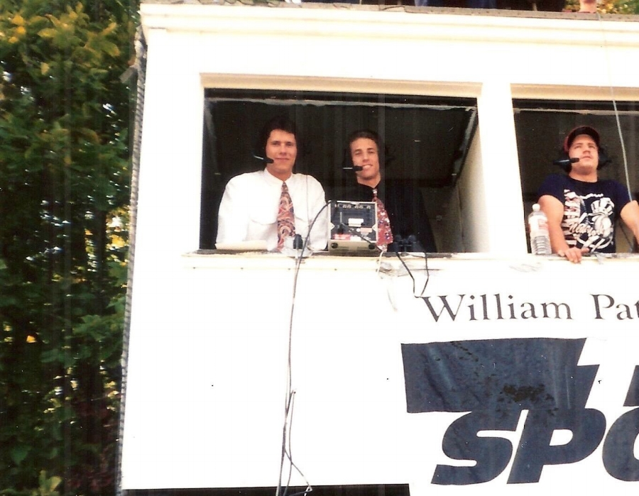 Classic photo of Kevin Knight (left) with Kevin Burkhardt (right) broadcasting for WPSC-FM