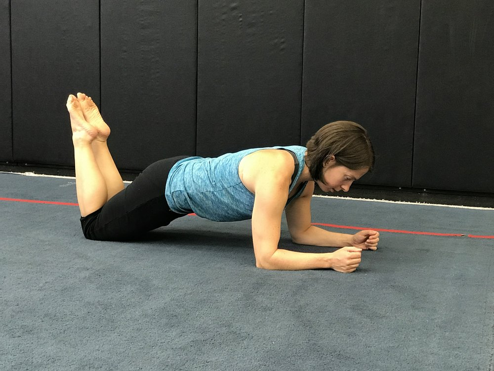 The knee plank:  a modification of the plank position. This is ideal for someone just starting out, or for someone recovering from an acute bout of back pain/shoulder injury. Dosage is the same as the plank hold above.