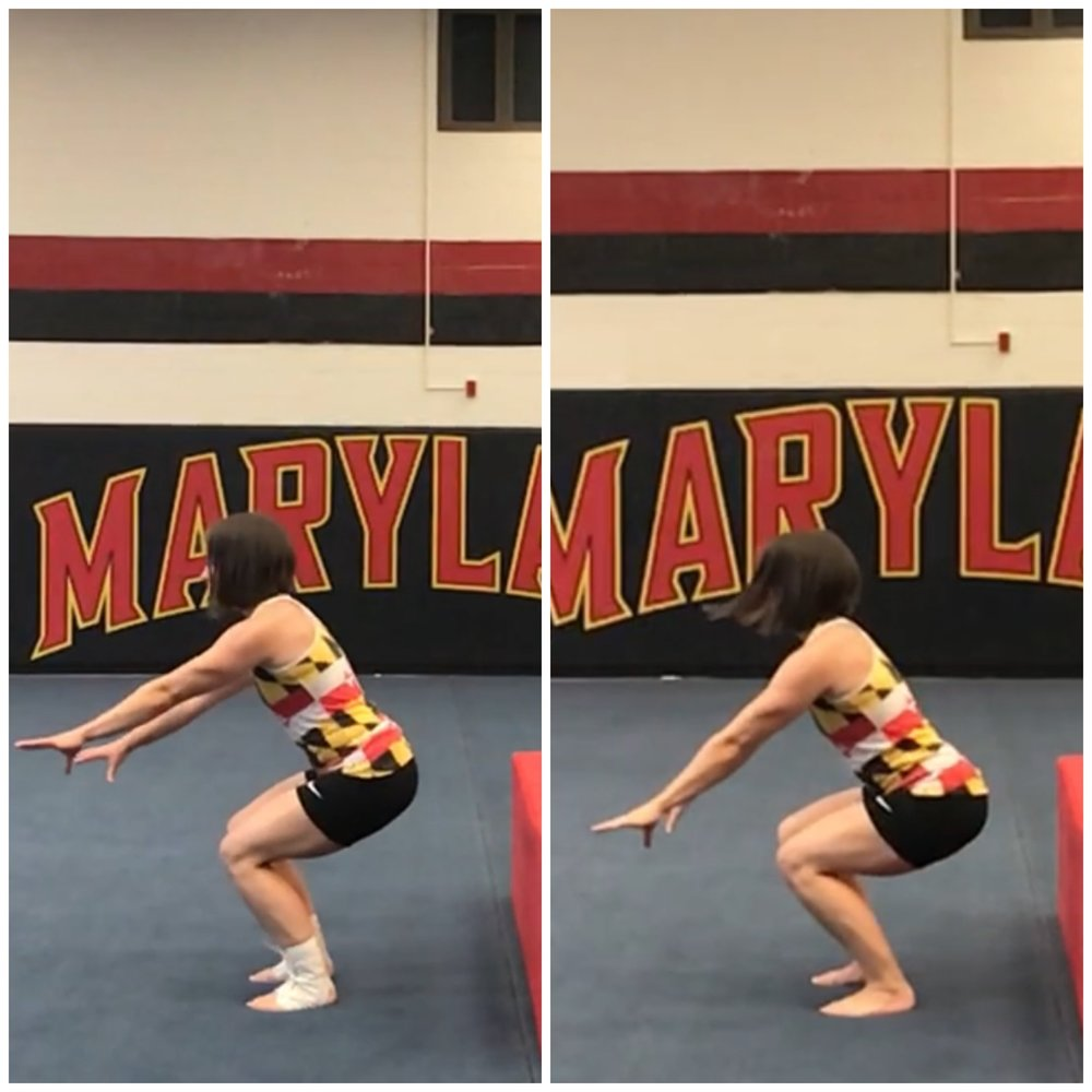 In the first photo, the shins are more upright - indicating less ankle dorsiflexion due to the brace blocking the motion. In turn, the knees are bent less and the back and hips are more vertical. You can see that the waist remains higher (relative to the ground) in the first photo as compared with the second. Also, the quadriceps are very prominent in the first photo (as they are working harder to resist the squat) while in the second photo the force is better distributed on the gastroc (calf) and the quadriceps.