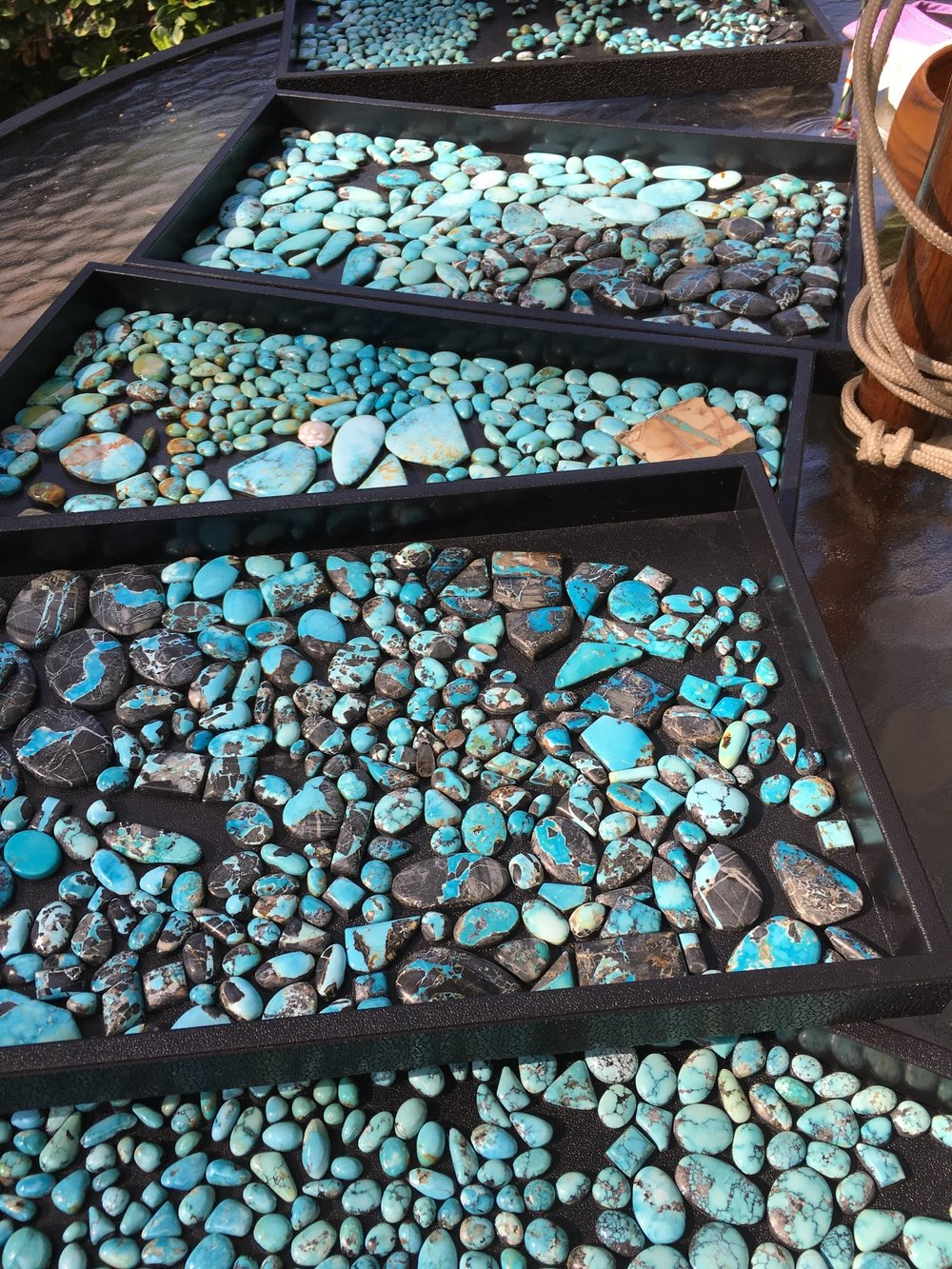 "Natural, ""Gem Quality"" Blue Moon Turquoise Cabachons from Nevada"