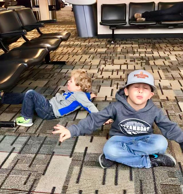 """There's a good chance he's mocking me but regardless he """"meditated"""" for a minute it and a minute in kid travel time is about 400 hours so I will take it 🧘🏽♀️. #igniteinnerbalance #teachthemyoung #kidsmindfulness #patienceisavirtue"""