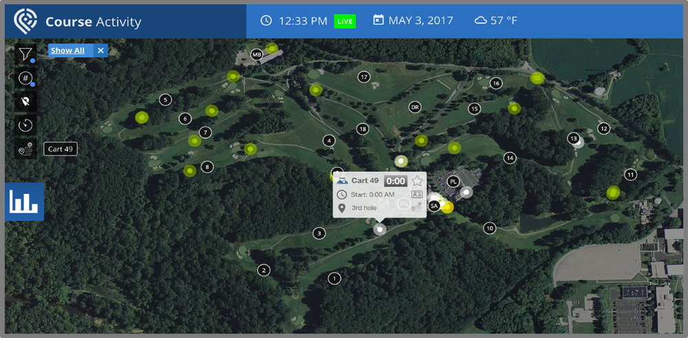 Example:  Real-time vehicle, caddie & player tracking (web browser)