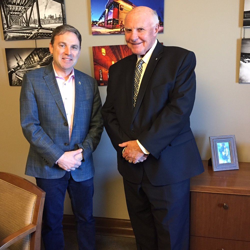 NCACT Spokesperson Gary Grant chatting with Member of Parliament René Arseneault regarding Bill S-5 in Ottawa, May 2017