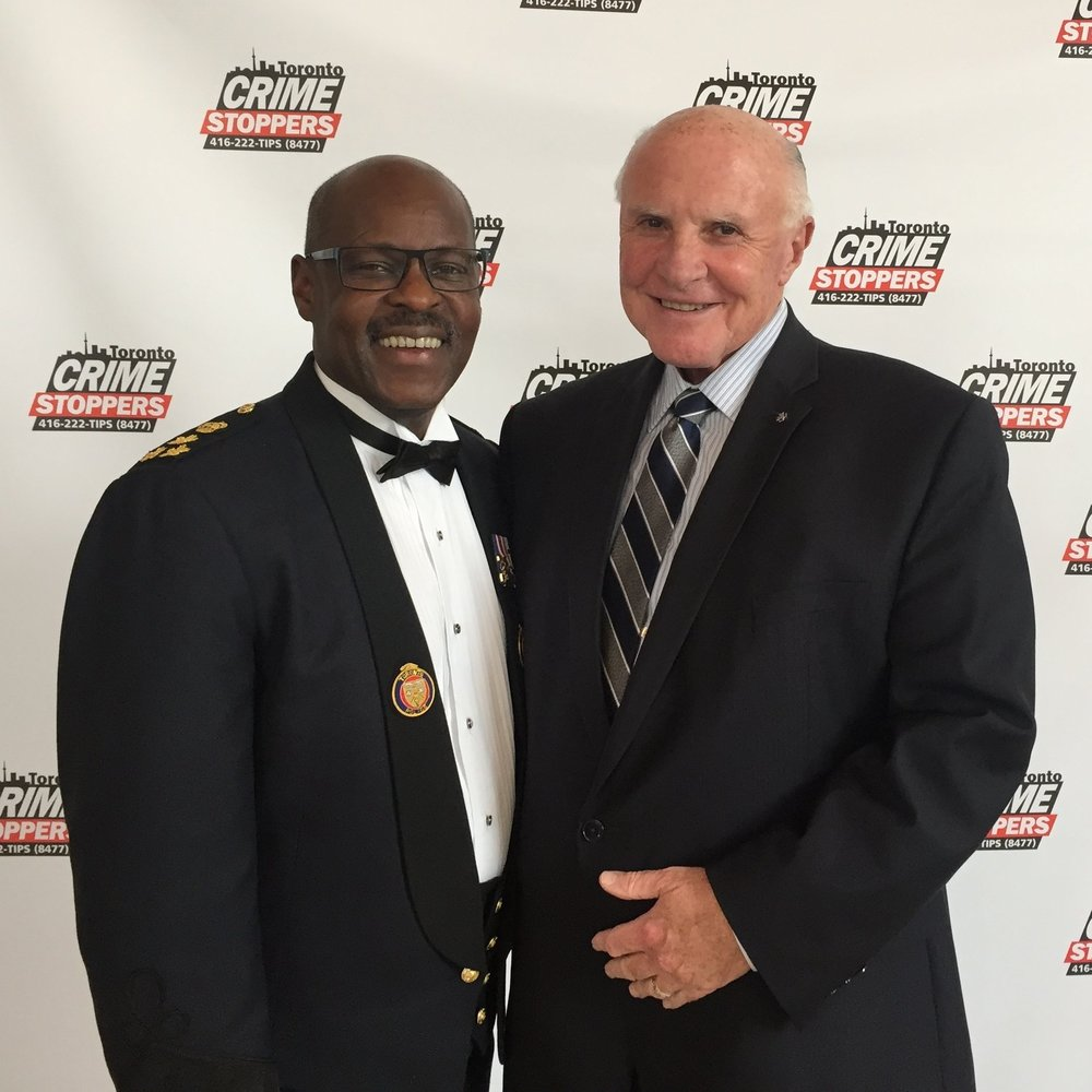 NCACT Spokesperson, Gary Grant and Toronto Police Chief, Mark Saunders at the Chiefs of Police gala in Toronto, May 2017