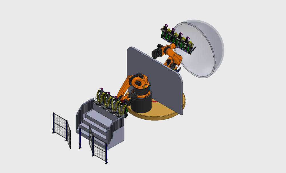 带有转盘的过山车游乐设施 - Twin Coaster Setup with rotary table