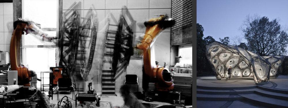 2台协作机器人使用碳纤维织造展馆结构。(斯图加特计算设计与施工研究所) 2 collaborative robots use carbon fibers for weaving pavilion structures. (ICD Stuttgart)