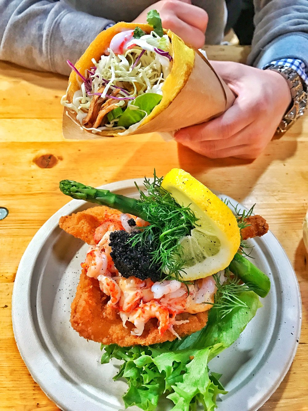 StreetFood @ Papirøen / Egg-wrap burrito & Fried Fish Smørrebrød w/ shrimp & caviar (aka sandwich)