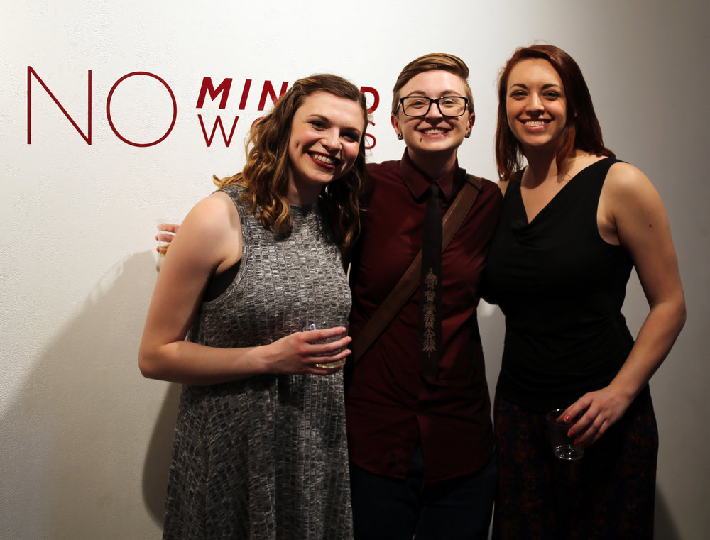 Jess Vandenberg (middle), FEMMEmphis logo and No Minced Words graphic designer