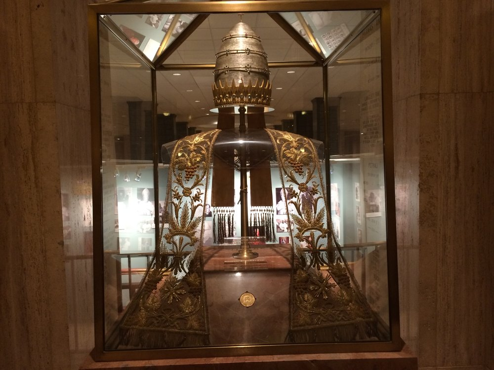 The papal tiara is a crown that was worn by popes of the Catholic Church from as early as the 8th century to the mid-20th. It was last used by Pope Paul VI.