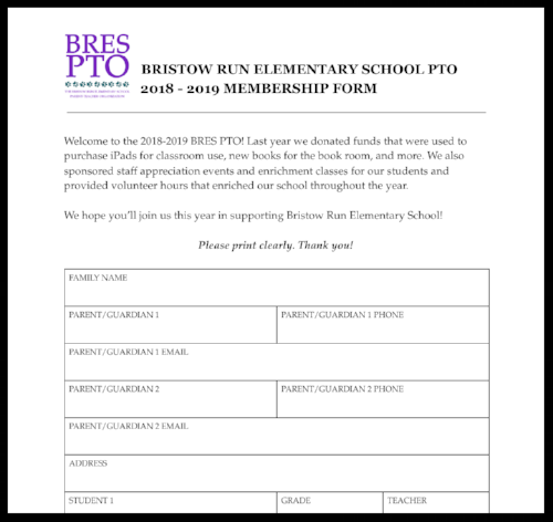 bristow run pto membership form 2018-2019
