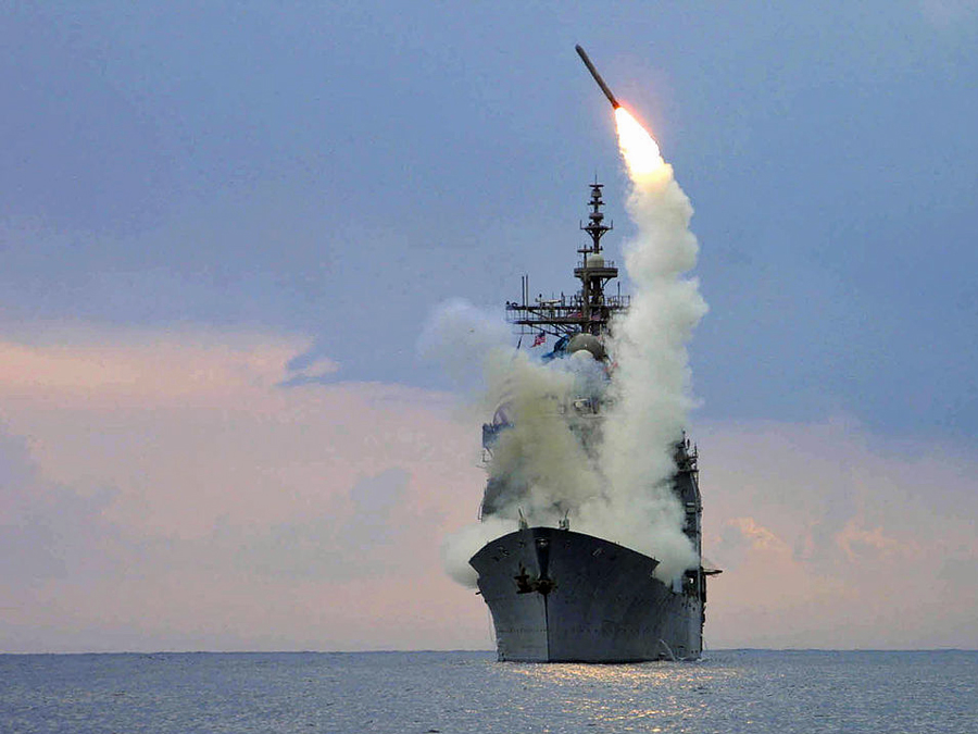 One of the US Naval Destroyers has returned to an undisclosed location to rearm its arsenal with more Tomahawk Missiles.