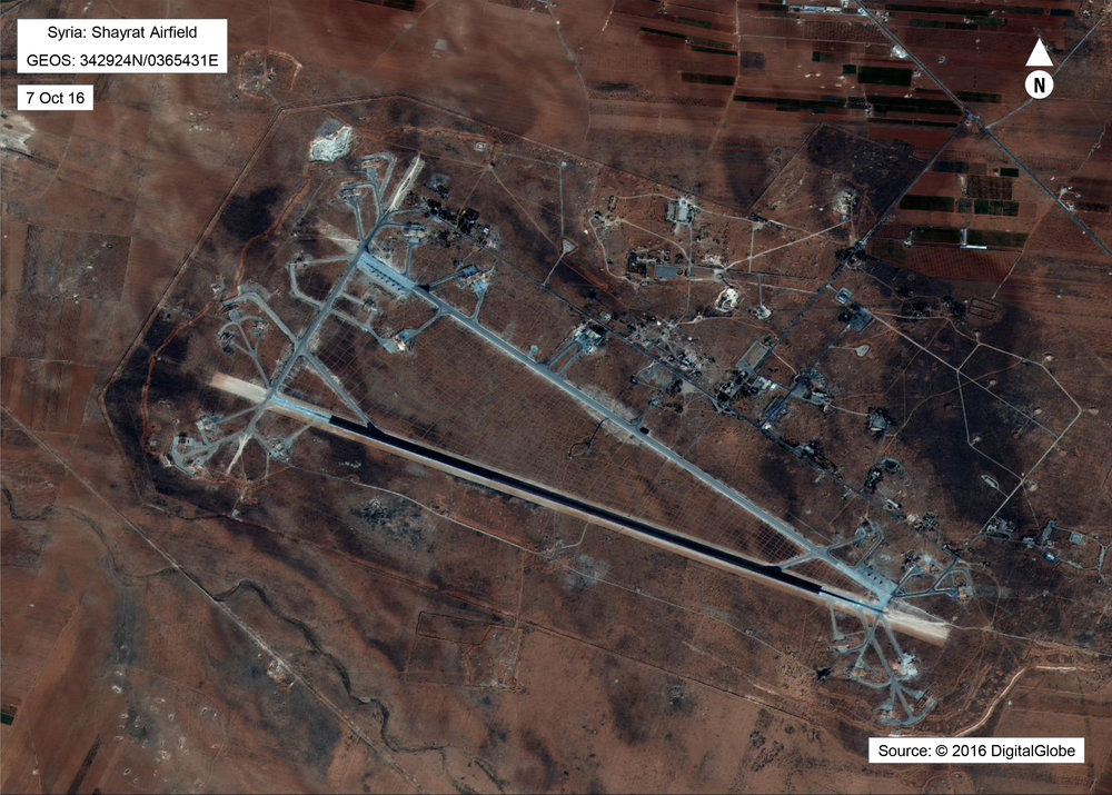 A satellite photo shows the aftermath of the Syrian Airbase after a payload of Tomahawk missiles. Source: Washington Examiner
