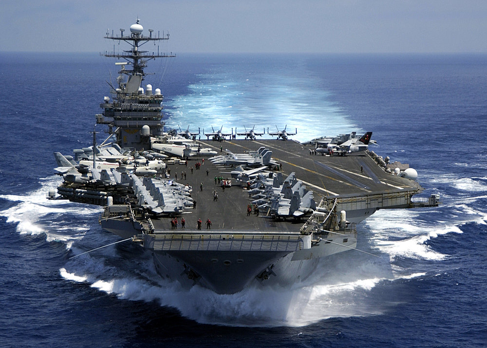 The Carl Vinson conducting military operations in the Indian Ocean.