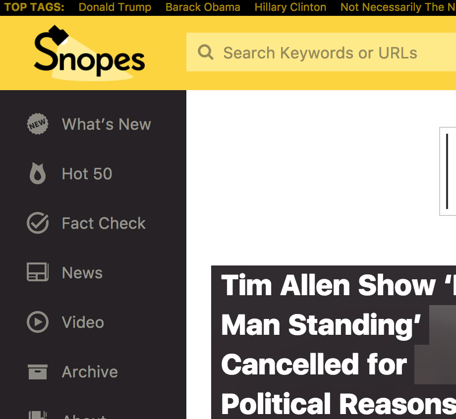 Snopes, one of the more well-known fact checkers.