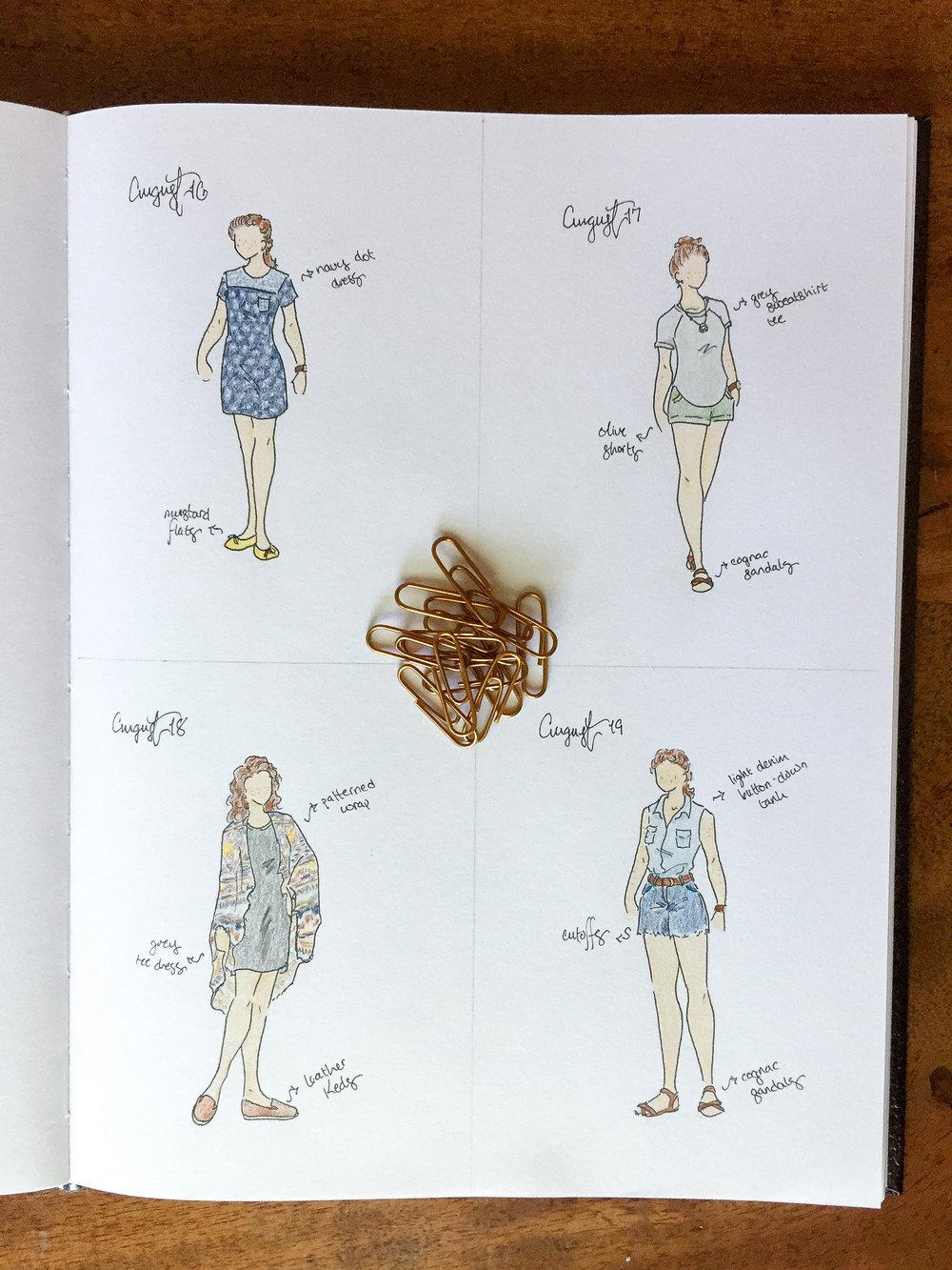 August 16:navy dot tee dress ( similar ) |  mustard flats   August 17:olive shorts ( similar  |  similar ) | grey sweatshirt tee ( similar  |  similar ) |  cognac sandals   August 18:grey tee dress ( similar ) | patterned wrap ( similar ) |  leather Keds   August 19: cutoffs  | light denim button-down tank ( similar ) |  cognac sandals