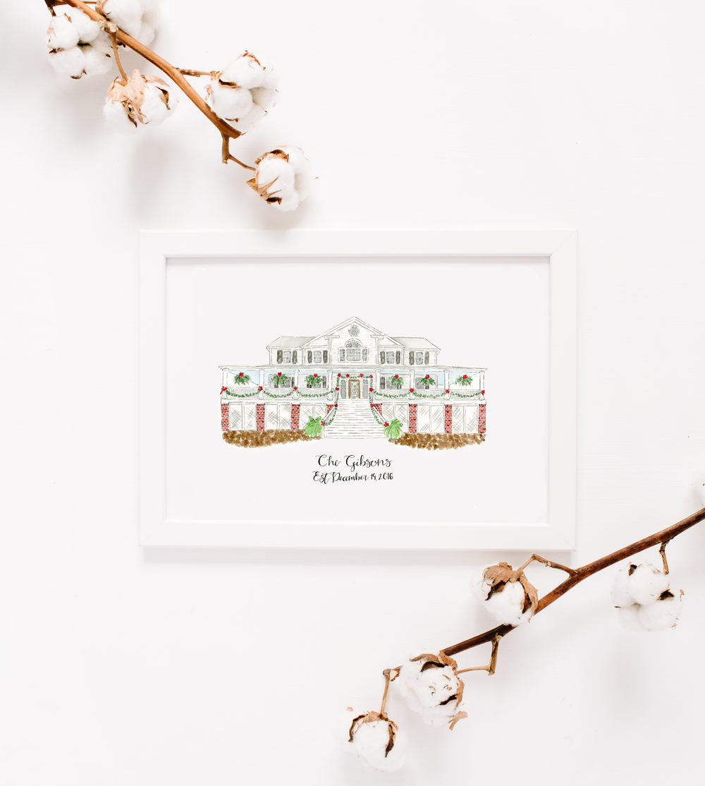 Southern Christmas Wedding Venue Watercolor Anna Kay Artworks.png