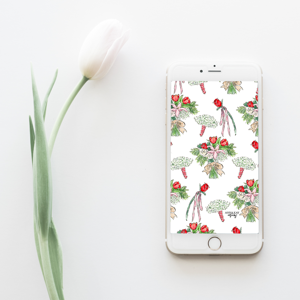 Valentine's Day Bouquet Florals Free Phone Background Anna Kay Artworks.png