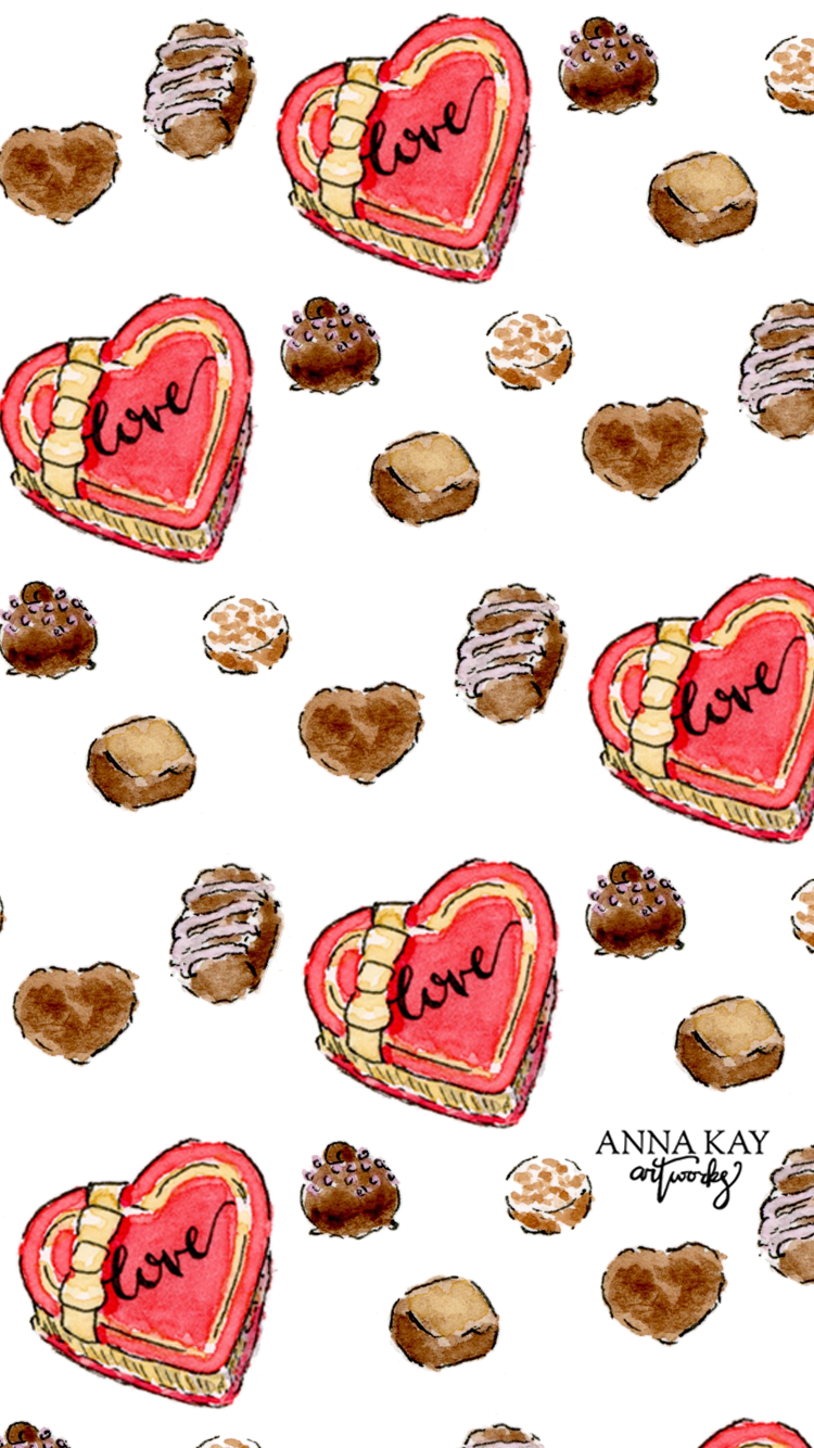 Box o Chocolates Free Watercolor Phone Background Anna Kay Artworks.png