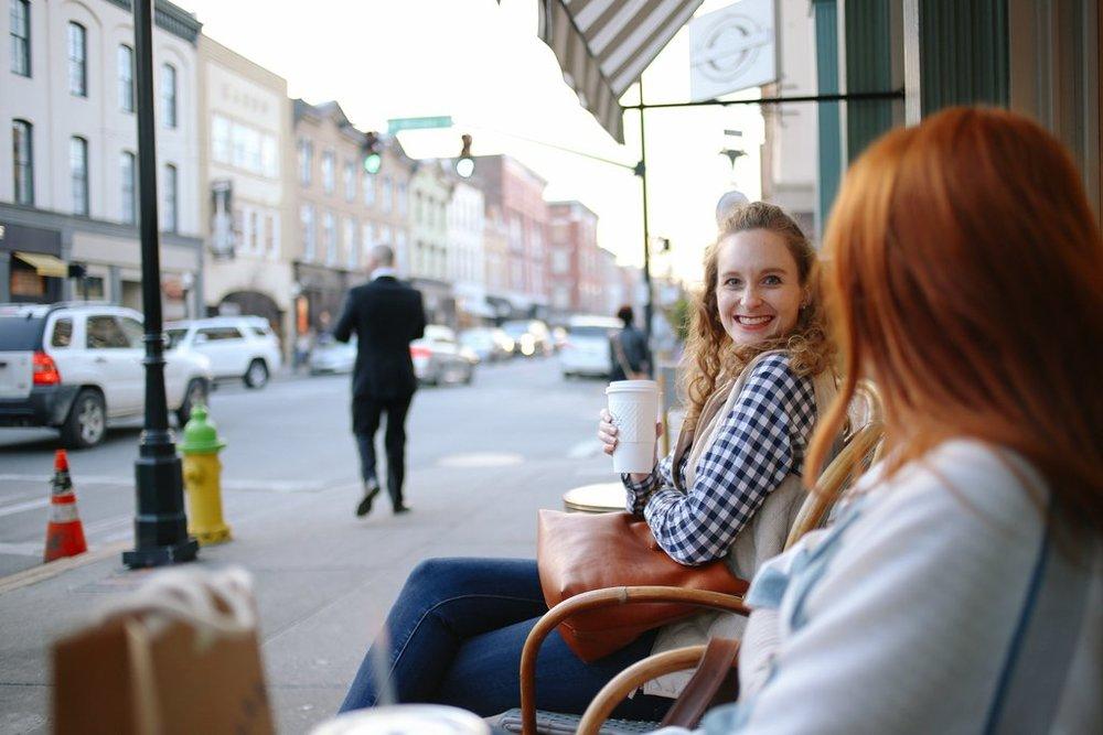 Coffee break at Paris Market Cafe.  Photo c/o Rosalynne