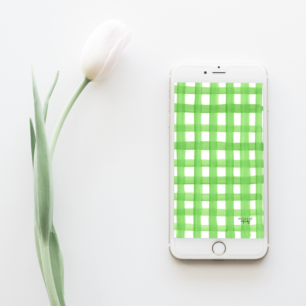 Gingham Green Spring Watercolor Free Phone Background Anna Kay Artworks.png