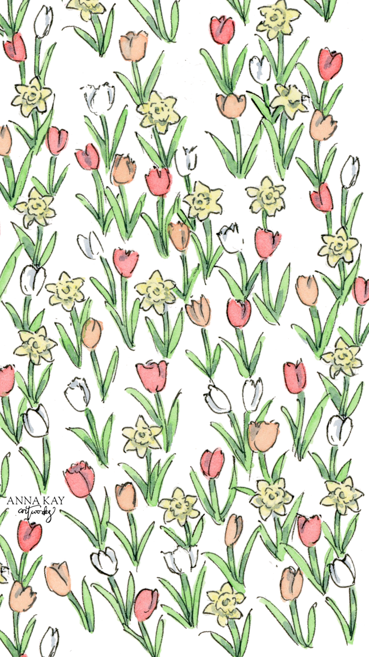 Floral Tulip Daffodil Spring March Free Watercolor Phone Background Anna Kay Artworks.png