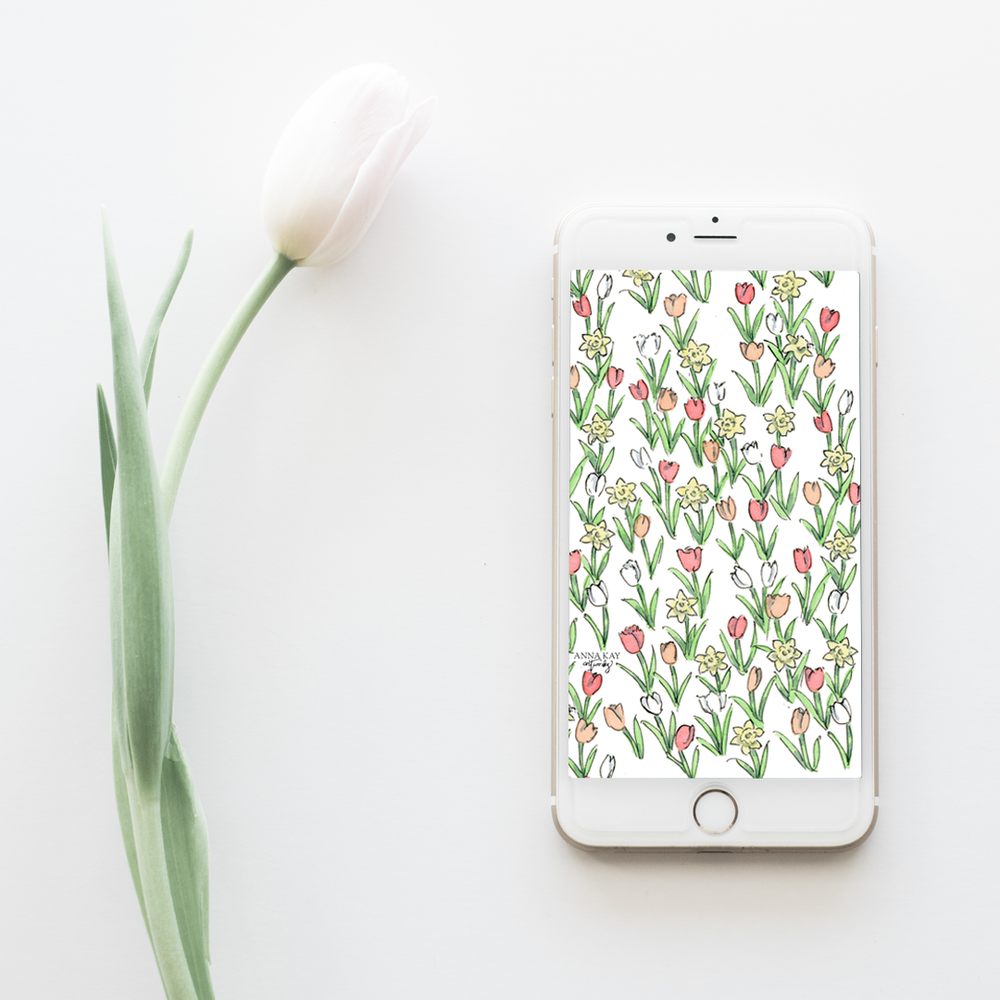 Tulips Daffodils Spring Watercolor Free Phone Background Anna Kay Artworks.png