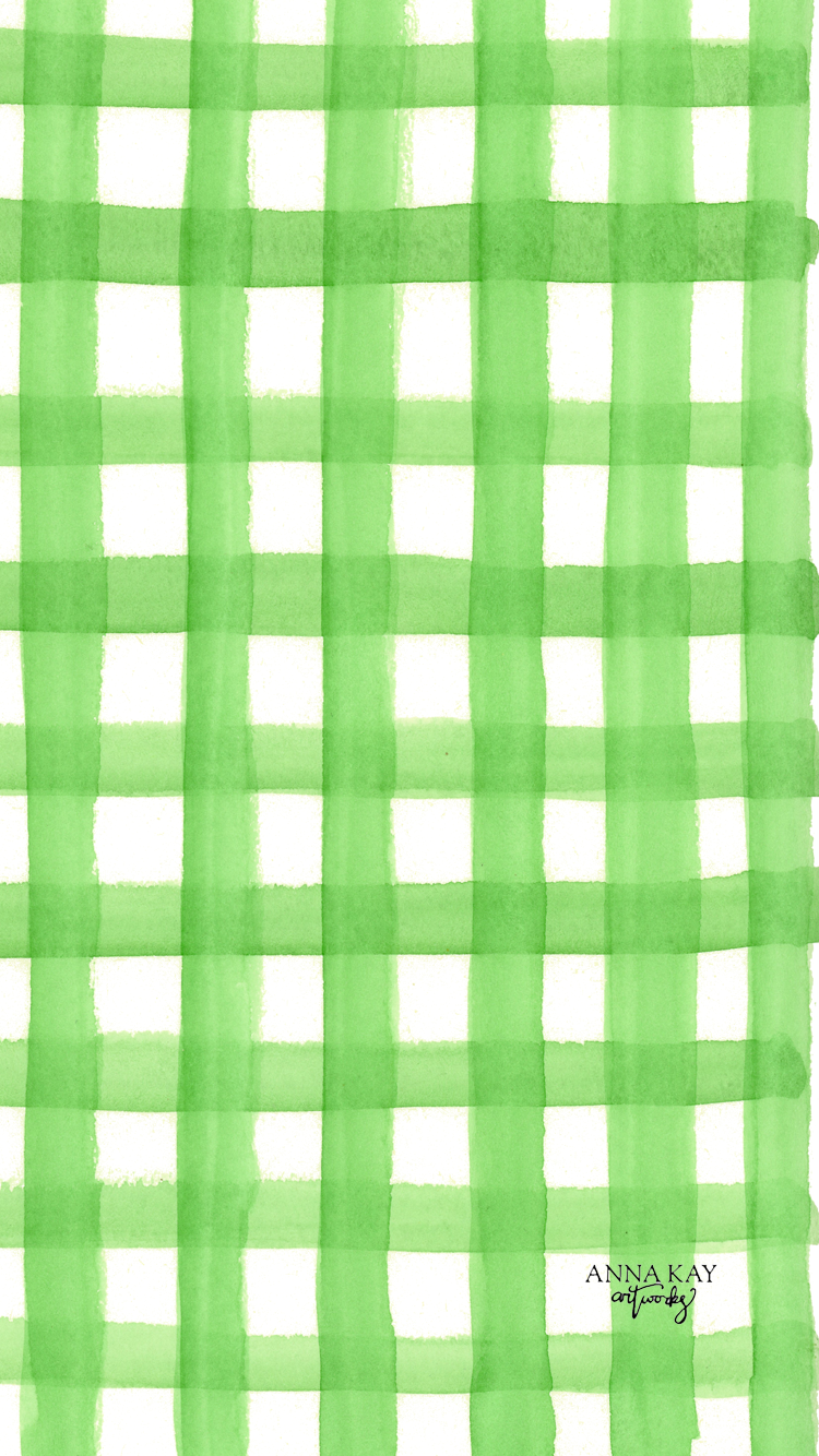Green Gingham Spring March Free Watercolor Phone Background Anna Kay Artworks.png