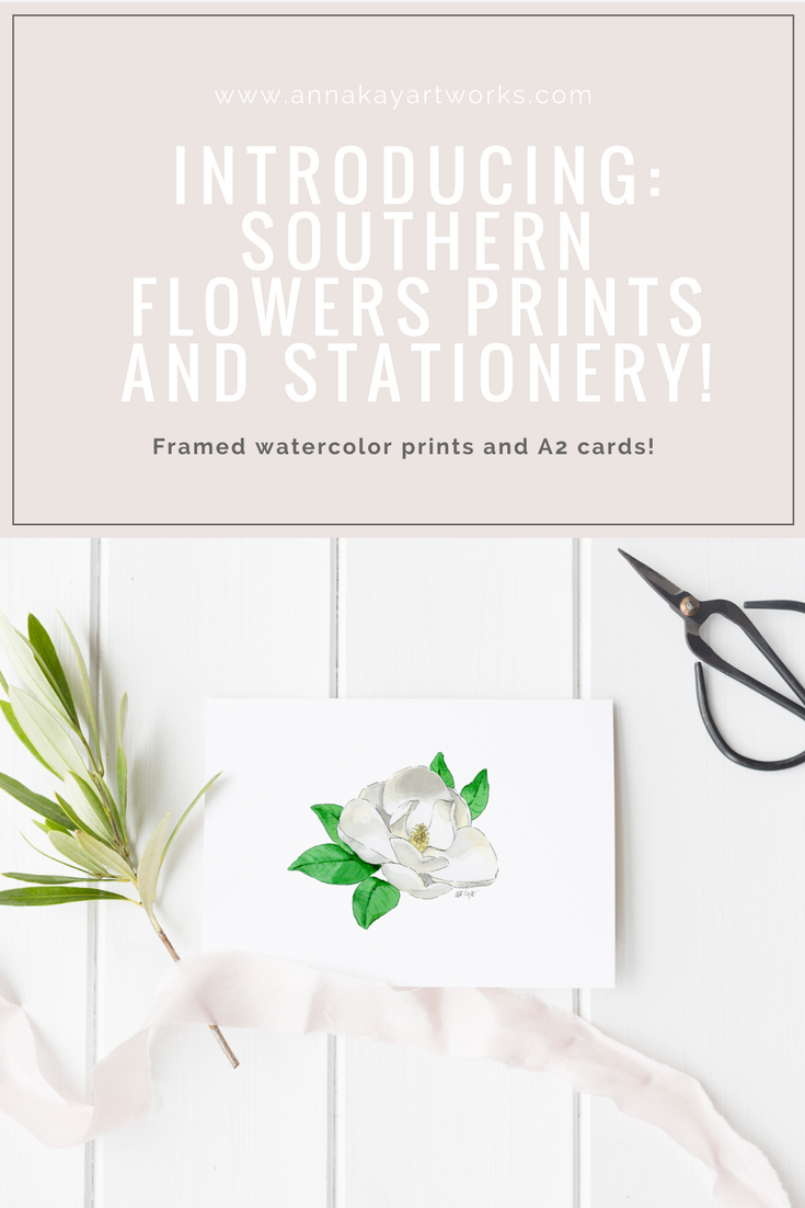 Southern Flowers Floral Watercolor Frame Print Stationery Anna Kay Artworks.png