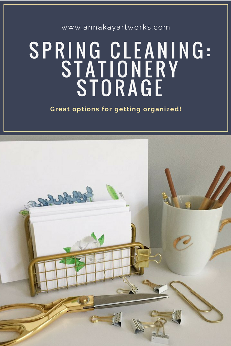 Watercolor Floral Stationery Storage Studio Anna Kay Artworks