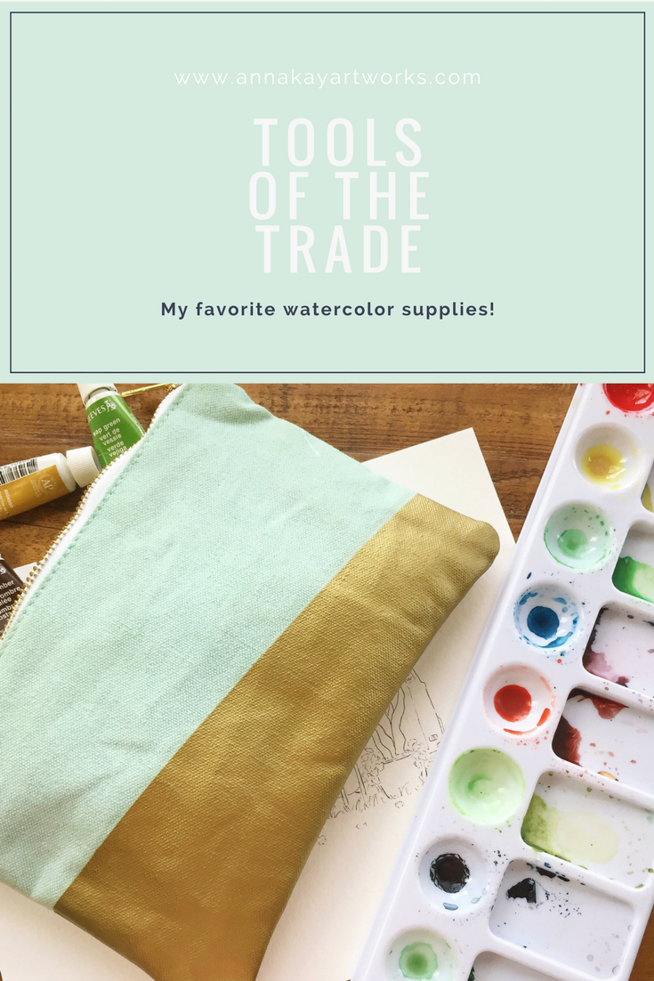 Watercolor Art Supplies Paintbrush Anna Kay Artworks