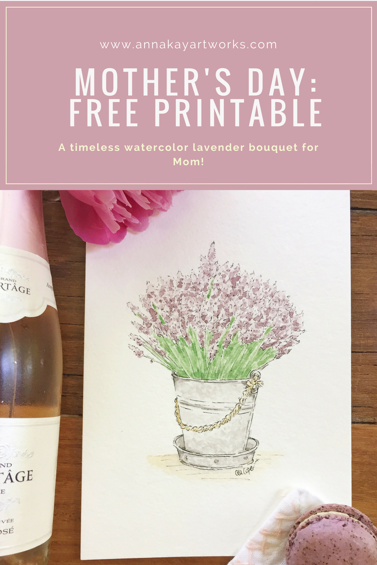 Free Mother's Day Printable Watercolor Lavender Bouquet Anna Kay Artworks