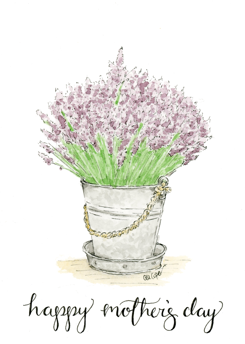 Mother's Day Printable Lavender Bouquet Gift Card Watercolor Anna Kay Artworks.png