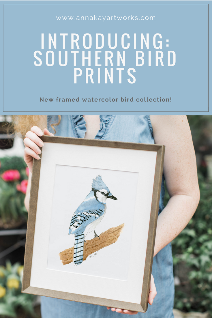 Watercolor Southern Bird Prints Anna Kay Artworks