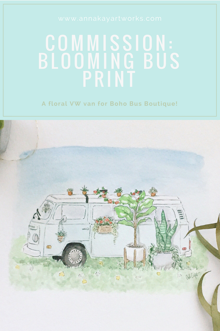 Boho Bus Vintage VW van Boutique Floral Watercolor Print Anna Kay Artworks