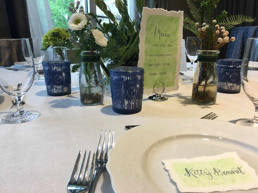 Custom Watercolor Wedding Table Suite Menu Anna Kay Artworks