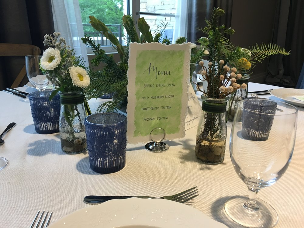 Custom Watercolor Wedding Table Suite Menu2 Anna Kay Artworks