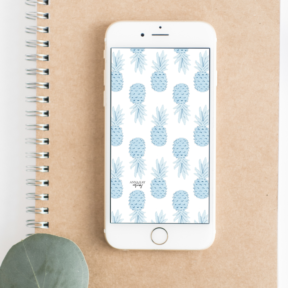 Blue Watercolor Pineapples Summer Vacation Free Phone Background Anna Kay Artworks.png